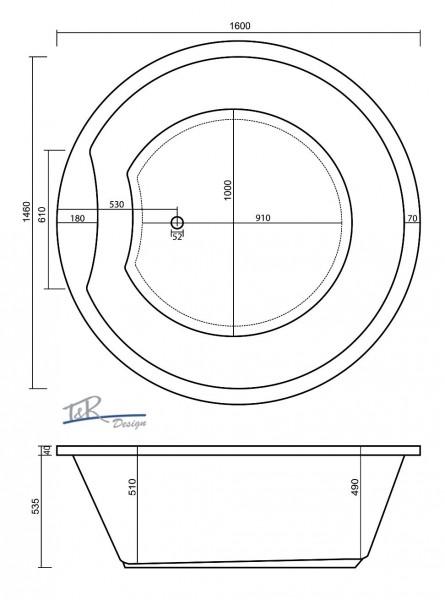 badewanne galatea sunset rund 160 x 160 x 53 5 cm st160. Black Bedroom Furniture Sets. Home Design Ideas
