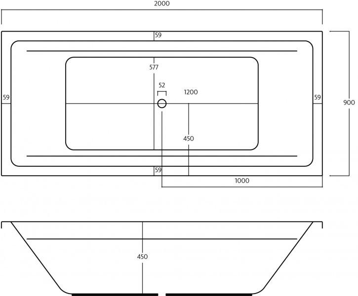 t r design whirlpool basic galatea badewanne beach 200 x 90 x 45 cm bh200. Black Bedroom Furniture Sets. Home Design Ideas