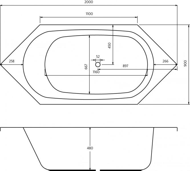 whirlpool airpool air plus air lux 6 eck badewanne coast 200 x 90 cm. Black Bedroom Furniture Sets. Home Design Ideas
