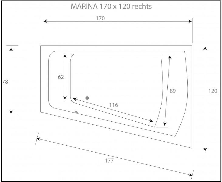 Whirlpool exklusiv 170 x 120 badewanne marina r for Asymmetrische badewanne 170